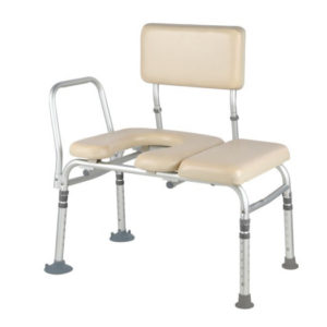 Prenium padded transfer bench with commode opening